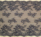 """NEW~  Black Wide Vintage Delicate Clipped Lace 27cm/10.5""""Costume/Goth/Lingerie"""