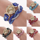 Chic Women's Dial Crystal Band Sparkling Wave Bracelet Quartz Wrap Wrist Watch