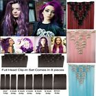 Colorful Hair Clip in Hair Extensions Full Head Curly 100% Natural Real Hair 2w