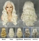 """24""""Front lace long wavy white ash grey blonde synthetic cosplay wig.TOP QUALITY"""