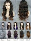"""24""""Front lace long wavy black root ombre grey blue brown synthetic wig for women"""