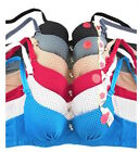 Lot 6 Lace Push Up BRAS Sexy 3 Hook Multi-Color Underwire B C Cup #819