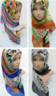 New Style Voile Print Flower Muslim Hijab Islamic Scarf Middle East Women