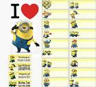 large & medium size Minions Personalised Vinyl Name Stickers 4 school, childcare