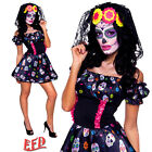 HALLOWEEN Mrs Day Of The Dead Fancy Dress Costume Sexy Sugar Skull Skeleton