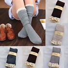 Crochet Lace Trim Women Knee High Stockings Boot Cuffs Socks Cotton Knit Leg