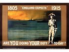 Vintage World war 1 Royal Navy Nelson Recruitment Poster A3 Print
