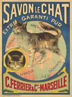 Vintage Savon The Globe Trotting Cat French Poster A3 Print