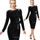 Womens Elegant Velvet Belted Brooch Ruched Wear to Work Party Sheath Dress 1297