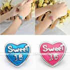 1pc Snap Charm Heart Sweet 16 Button Fit Bracelet Birthday Style DIY Gift