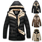 MEN'S WOMENS Long Thicken Outwear WINTER Hooded Padded Coat Jacket Tops Overcoat