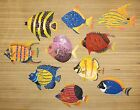 HAND PAINTED SET OF 10 FISH METAL ART WALL HANGINGS