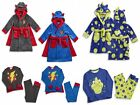 Boys Pyjamas Boys Fleece Robe Dressing Gown Superhero Dinosaur BNWT Ages 2-6