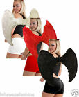 CHRISTMAS ANGEL WINGS BLACK RED WHITE REAL FEATHER 80CM WIDE ADULTS