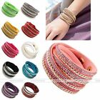 Women Slake Crystal Studded Waterfall Suede Leather Multilayer Bracelet Bangle