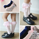 Baby Toddler Kids Girl Cotton Lace Bowknot Knee High Socks 9 months to 8 years