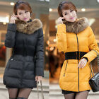 US 8-16 Women Warm Winter Faux Fur Collar Quilted Coat Parka Hooded Down Jacket