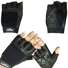 GENUINE LEATHER FINGERLESS GLOVES WEIGHT LIFTING GYM WHEELCHAIR CAR DRIVING