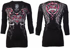 Rebel Saints AFFLICTION Womens LS T-Shirt LOVE BUG Biker Sinful S-XL $58