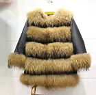 100% Real Sheep Leather racon Fur Long Coat Lamb Leather Jacket Outwear Warm