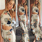 Sexy Womens Girl Floral Beach Two Piece Suit Dress Backless Crop Tops+Long Skirt