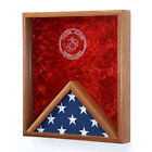 Marine Corps Flag & Medal Display Case Hand Made By Veterans