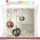 PERSONALISED CHRISTMAS CUSHION ANY PHOTO TEXT GRANDAD NAN BAUBLE GIFT FAMILY MOM