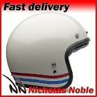 BELL CUSTOM 500 STRIPES Pearl White Red Blue CLASSIC OPEN FACE MOTORCYCLE HELMET