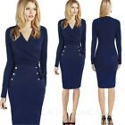 Long sleeve Vintage Xmas Party Office Winter Bodycon Womens Midi Dress Size