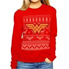 Official Wonder Woman Logo Fair Isle Red Christmas Jumper Sweatshirt - DC Comics