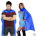 Adults Deluxe Plain Superhero Satin Cape Fancy Dress Party Book Week Boxers Robe
