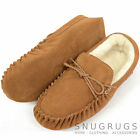 Mens Genuine Suede Moccasin / Sheepskin Slipper with Soft Suede Sole Light Brown