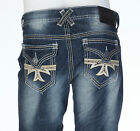 XTREME COUTURE by AFFLICTION Mens Denim Jeans GEO FLAP CROSS Embroidered $79 NWT