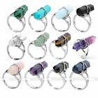 1pc Natural Gemstone Hexagon Healing Point Chakra Bead Wrap Finger Ring Women