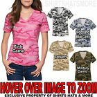 Ladies Camo V-NECK T-Shirt Preshrunk Cotton Womens Tee XS-XL 2X 3X 4X NEW