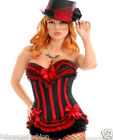 New Ladies Girls Red-Black Lace Up corset flirty ruffles and bow accents