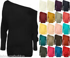 New Summer Ladies Batwing Top Off The Shoulder Plain Long Sleeve Tops Dress