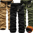 New Winter Men's Cotton Fleece Lined Cargo Combat Work Long Pant Warm Trousers