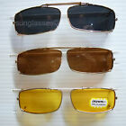 Clip on spring sunglasses glasses gold metal frame rectangle 100 uv fish new