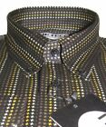 Mens Shirt NEW Black Dogstooth Quality 100% Cotton Button Down Collar Mr Free