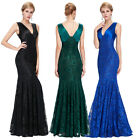 Womens Ladies Formal Sexy Long Prom Mermaid Lace Gown Evening Party Dresses Ball