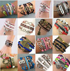 New Fashion Jewelry Leather Cute Infinity Charm Silver Bracelet lots Style Pick