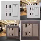 New 4-Port USB Wall Socket Charger AC Power Receptacle Screw Outlet Plate Panel