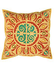 Applique Work Cushion Cover Cotton Pillow Cases Geometric Yellow Covers Square