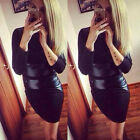 Women Fashion Pu Leather Patchwork Sexy Black Long Sleeve Party Bodycon Dress
