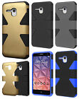 For Alcatel ONETOUCH Fierce XL IMPACT TUFF HYBRID Skin Phone Case + Screen Guard