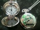 1 x Retro style bird cage quartz pocket watch necklace pendant