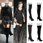 WOMENS LADIES ELASTIC OVER THE KNEE THIGH HIGH STRETCH ZIP PULL ON BOOTS SIZE