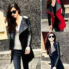 Women's Warm Wool PU Leather Sleeve Long Coat Jacket Parka Trench Overcoat TXCL