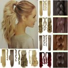 Wrap Around Hair Extensions Long Straight Hair Piece Clip In Synthetic Human 1D6